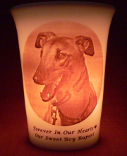 pet memorial candle for Rupert