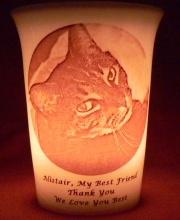 pet memorial candle for Alistair