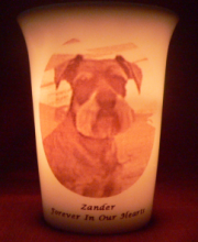 pet memorial candle for Zander