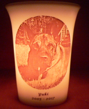 pet memorial candle for Yuki