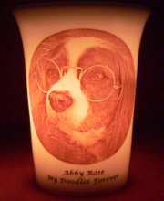 pet memorial candle for Abby Rose