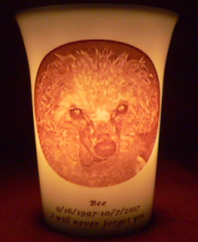 pet memorial candle for Bee