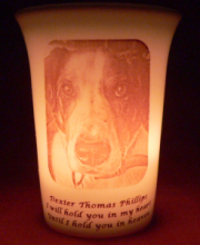 pet memorial candle for Dexter