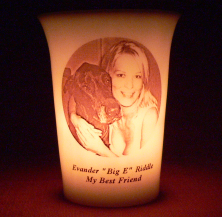 Mourninglight™ custom printed glass memorial candle