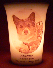 Mourninglights™ custom printed glass memorial candles for pets