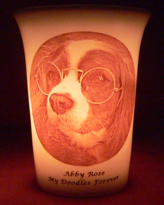 Mourninglight custom printed glass memorial candle