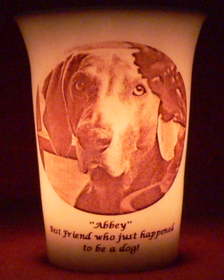 Mourninglight™ custom printed glass memorial candle for pets